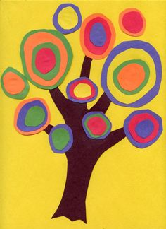 Kandinsky Trees (great idea for earth day)  Students cut out a tree trunk from black paper, more or less in the shape of a hand with five fingers outstretched at the top. It is glued to a background paper that offers a lot of contrast in color.