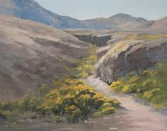 "Daily Paintworks - ""Flowering Arroyo"" - Original Fine Art for Sale - © Bonnie Bowne"