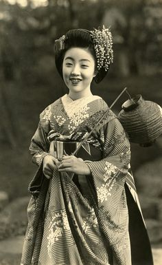 Maiko Teru with a Festival Lantern 1930s | Flickr - Photo Sharing!