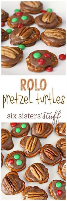Rolo Pretzel Turtles from SixSistersStuff.com | A simple Christmas snack that everyone will love! Make with your kids for a fun Christmas activity!