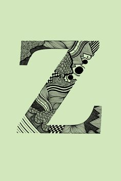 Z for Zeina Typography Logo, Graphic Design Typography, Lettering Design, Hand Lettering, Doodle Lettering, Alphabet Letter Crafts, Letter Art, Logo Animal, Calligraphy Drawing