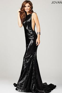Navy Low Back Sequined Prom Dress 33040