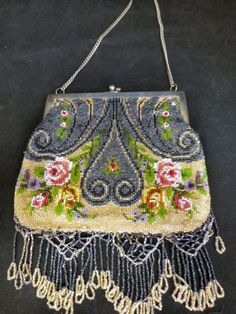 Antique 1912 Beaded Purse - Beautiful Floral - with note from owner! #EveningBag