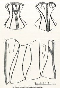 Pattern for corset Pattern Credits: Norah Waugh. Corsets and Crinolines. New York: Theater Arts Books, - This is the pattern my own corset was made from. Corset Sewing Pattern, Mccalls Sewing Patterns, Simplicity Sewing Patterns, Pattern Drafting, Sewing Hacks, Sewing Crafts, Sewing Projects, Sewing Tutorials, Corset Tutorial