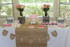 """Photo 1 of 15: burlap, lace and pearls / Baby Shower/Sip & See """"Kelis baby girl shower"""" 