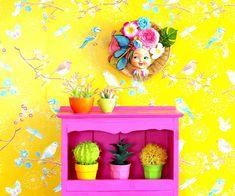 #TutikaByNoa Girls Room Wall Art Decorative Art Collage Wall Art Girl | Etsy 3d Wall Art, Colorful Wall Art, Modern Wall Art, Colorful Decor, Wall Collage, Wall Décor, Colorful Interior Design, Colorful Interiors, Pop Art Decor