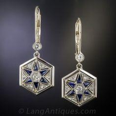 Art Deco Diamond and Synthetic Sapphire Drop Earrings - Art Deco Jewelry - Vintage Jewelry Art Deco Earrings, Art Deco Jewelry, Chandelier Earrings, Vintage Earrings, Sapphire Jewelry, Sapphire Earrings, Drop Earrings, Antique Jewelry, Vintage Jewelry