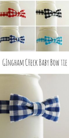 Gingham check baby bow ties are great choice for baby photo prop!
