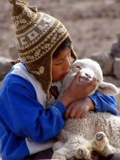 A very precious photo of a young Peruvian boy kissing his new baby alpaca.  So sweet!