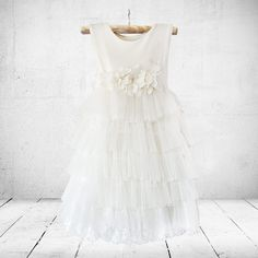 Victoria flower-girl, christening or party dress in off-white. Little Miss Little Miss Dress, Victoria Dress, Stretchy Material, Special Occasion Dresses, Ankle Length, Party Dress, Tulle, Flower Girl Dresses, Girl Christening