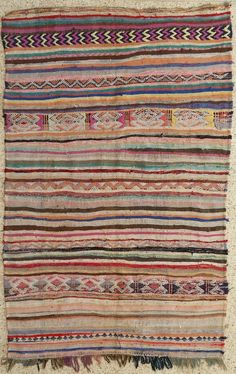"""102""""X64"""" Vintage Moroccan rug woven by hand from scraps of fabric / boucherouite / boucherouette"""
