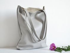 Everyday GREY LEATHER Tote Bag Pebbled Leather Laptop by KadoBag