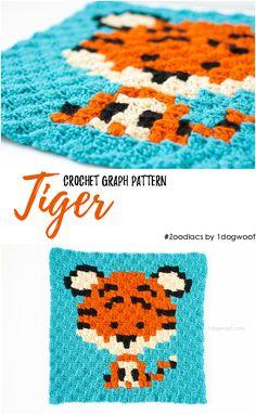 Zoodiacs Tiger C2C Crochet Graph free pattern - One Dog Woof