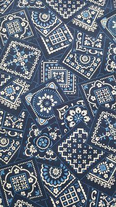 Navy Blue Bandana Paisley / Patttern 100% Cotton Fabric VIP Cranston Print By…