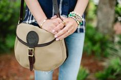Blonde Expeditions blogger, Kaitlin Keegan pairs her Duluth Pack Shell Bag with bangles for a great street style look.