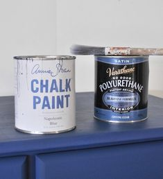 I painted over it using Annie Sloan's 'Napoleonic Blue' Chalk Paint then added two coats coat of clear water-based satin Varathane on top.  It's for an active boy so I wanted to reinforce the paint with extra protection!