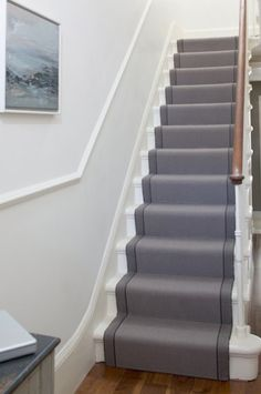 Simple, clean and on-trend, this Roger Oates stair runner creates an elegant and simple statement. Roger Oates stair runners are supplied and fitted by The Silkroad Flooring, Haslemere, Surrey Edwardian Hallway, Edwardian House, 1930s House, Victorian Homes, Front Stairs, House Stairs, Carpet Stairs, Hall Carpet, Flooring For Stairs