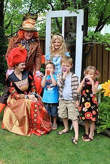 Queen of Hearts and Mat Hatter with Alice @alittlecuppatea.blogspot.com - such a great party.