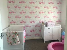 Baby girls cute laura Ashley flamingo Nursery. Can't wait for the finished product! Gorgeous wallpaper!