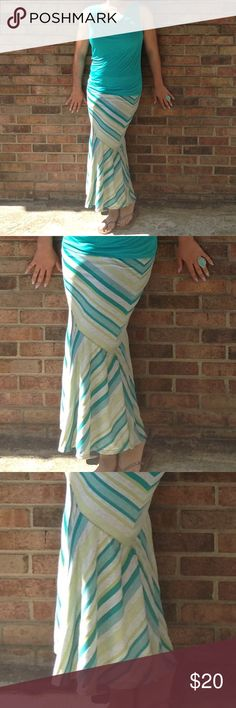 NWT Tribal Maxi skirt Small NWT Tribal Stripped Maxi skirt Small Made w cotton, spandex and rayon Tribal Skirts Maxi