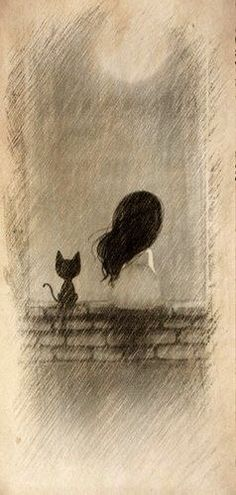 Reminds me of myself as a little girl. Always loved kittens and cats and there were always some around on the farm. Love my black cat now. Art Et Illustration, Illustrations, Crazy Cats, Love Art, Painting & Drawing, Drawing Drawing, Rock Painting, Amazing Art, Art Drawings