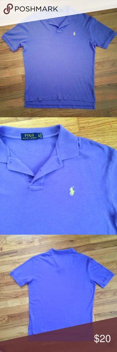 Royal Purple Ralph Polo with Yellow Pony Men's medium 100% cotton authentic Ralph Lauren polo. 2nd & 4th pictures are most true. Only worn once or twice this shirt is in beautiful used condition. Polo by Ralph Lauren Shirts Polos