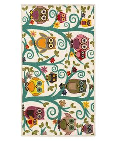 Look what I found on #zulily! Ivory Owls & Flowers Rug #zulilyfinds