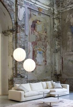 Distressed// Idea of an art painted feature wall instead of an actual detached painting?