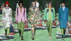 At the Gucci Spring/Summer 2017 show, many models wore pants in the Greenery color while walking down a Greenery-colored runway.