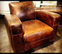 Art Deco Aged Leather Armchair - Canalside Interiors