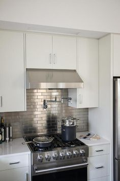 Stainless Steel Mini Brick Tile Backsplash, Transitional, Kitchen, Sherwin Williams Snowbound