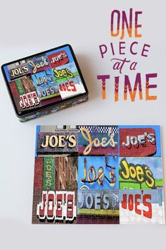 Custom jigsaw puzzle featuring the name JOE (and many more names) in photos of actual signs! Makes a great gift for kids, guys or anyone :-)