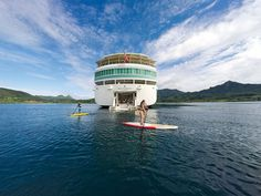 PAUL GAUGUIN - Tahitian Islands : FLY+ CRUISE + STAY PACKAGE: Enjoy return flights, Papeete acccomodation, transfers and 7 night cruise from $5999* per person.    The renowned, 5+-star m/s Paul Gauguin was built specifically to sail the waters of Tahiti, French Polynesia and the South Pacific. Launched in 1998, The Gauguin is the longest continually operating year-round luxury cruise ship in the South Pacific. No other luxury ship in history has offered this level of single-destination focus…
