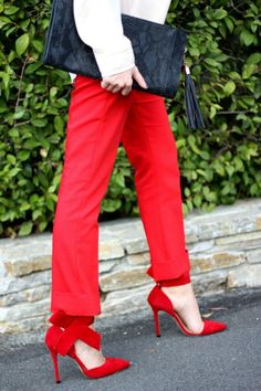 Express Red Slim Pant | Holiday Outfit | Bow Heels | She Said He Said - A Fashion Blog