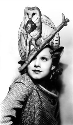 Jean Harlow in owl/mouse hat, 1930s