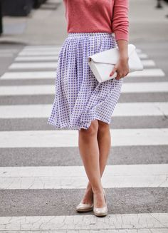 gingham skirt with pink and neutrals