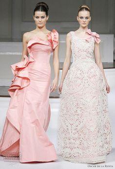 Crochet blush and ivory wedding dress by Oscar de la Renta. #crochetweddingdress