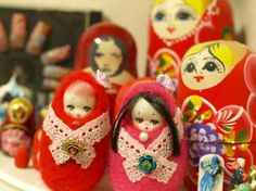 Felted russian doll PINK by Aya1gou on Etsy, $20.00