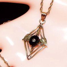 Antique Victorian 12K Gold Filled Onyx Diamond Lavalier Pendant Necklace #Vintage #Lavalier