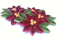 Poinsettia Christmas Ornament Paper Quilled by WintergreenDesign, $35.00