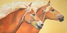 Horse Duet by Micki Thomas Oil ~ 18 x 36