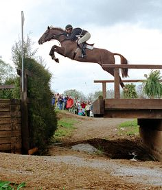 Mike Plumb & Hey Charlie over the Broken Bridge at the 1992 Kentucky CCI4*. Photo by Karl Leck.