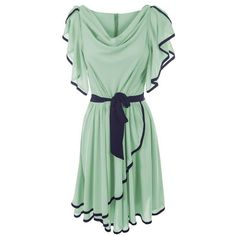 LADIES MINT GREEN SHORT SLEEVE SEMI FITTED CONTRASTING SKATER DRESSES ❤ liked on Polyvore featuring dresses, vestidos, short dresses, robes, skater dress, mint mini dress, short green dress, mint green short dress and green short sleeve dress