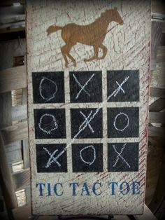 Rustic Chalkboard, Tic Tac Toe, barn wood sign. Hand painted,Crackled, off white, Red, Blue, and Brown. Western, Game Room,,Kids room,Horse. on Etsy, $40.00