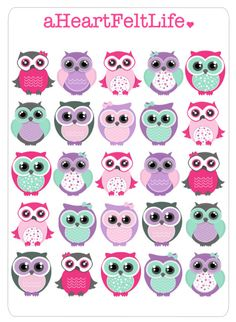 25 Girly Owl Stickers for your Planner, scrapbook, calendar, etc. by aHeartFeltLife on Etsy