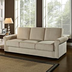 Serta Dream Thomas Convertible Sofa - Light Brown - Beautiful and made to last, the Serta Dream Thomas Convertible Sofa - Light Brown features three cushions, a soft upholstery in an airy ash-brown,...