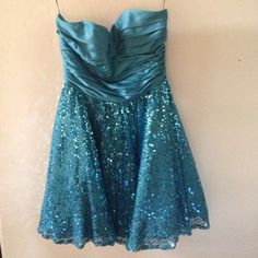 Betsey Johnson Strapless Blue Sequin Party Dress A classic Betsey Johnson party dress. A strapless bodice and a voluminous sequin bottom half. Worn once. No pp, no trades. Betsey Johnson Dresses Prom