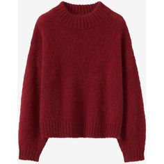 BALLOON SLEEVE MOHAIR SWEATER (785 PEN) ❤ liked on Polyvore featuring tops, sweaters, balloon sleeve sweater, mohair sweaters, high-neck tops, red sweater and high neckline tops