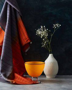 Pleased to share the first image from our recent shoot with @design_nation_uk   Objects in this shots L-R Scarf by @ekta_kaul Glass Bowl by @gilliesjones and Cream Vase by @lindathepotter These objects will be showcased at an exhibition during @londoncraftweek More details soon. Styling by @mugdhasapte   #londoncraftweek2017 #craft #exhibition #makers #glass #textiles #ceramics