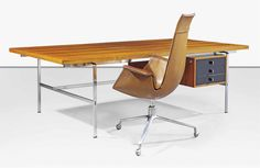 Lot Description  PREBEN FABRICIUS (1931-1984) & JØRGEN KASTHOLM (1931-2007) AN EXECUTIVE DESK AND A 'TULIP' CHAIR, CIRCA 1965 produced by Kill International, hardwood veneer, black plastic laminate, steel, aluminium and leather upholstery desk 28 in. (71 cm.) high; 86.1/2 in. (219.8 cm.) wide; 43.1/4 in. (109.8 cm.) deep; chair 43.3/8 in. (110.3 cm.) high; 28.1/2 in. (72.8 cm.) wide manufacturer's label to underside of chair
